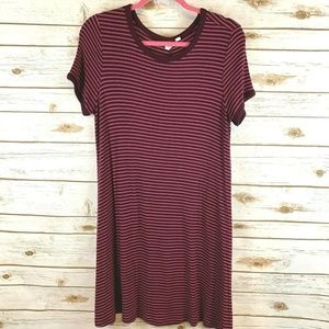 Gap Dress Knit T-Shirt Striped Casual Style Wine